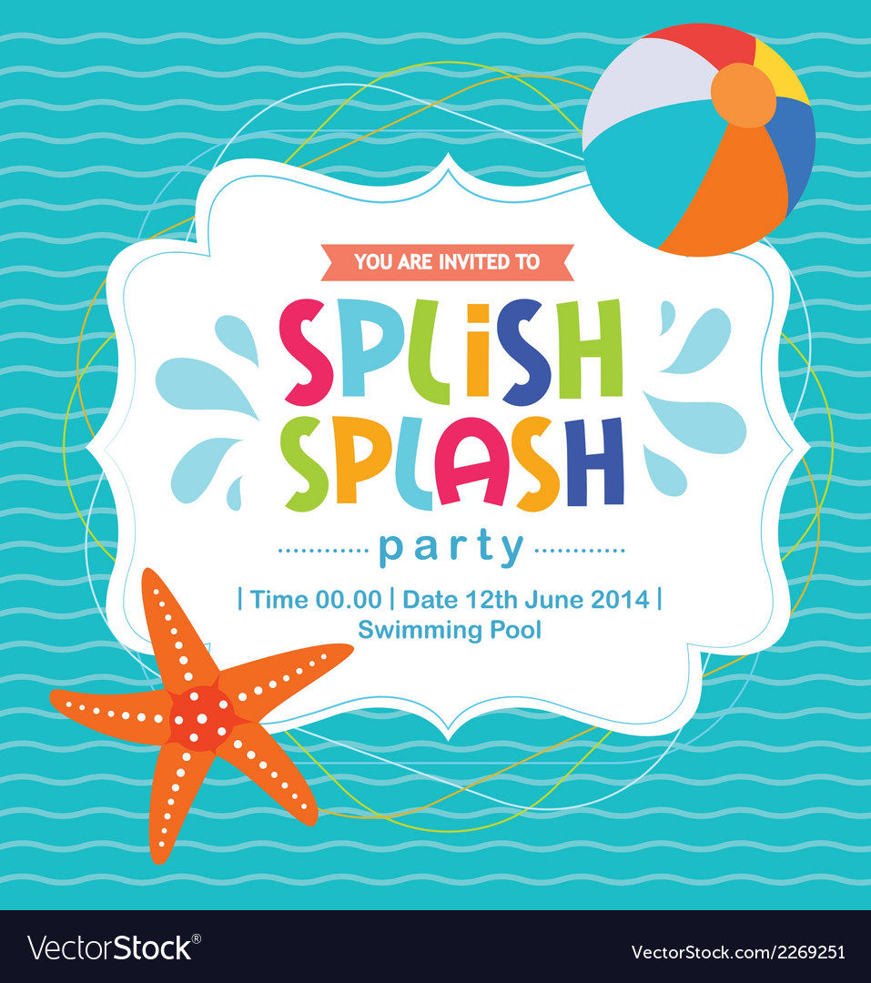 Birthday card invitation summer fun splash pattern vector | Price: 1 Credit (USD $1)