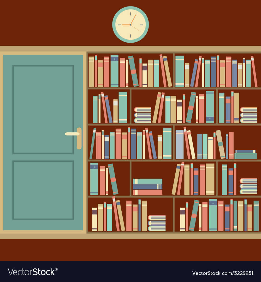 Bookcase in reading room vector | Price: 1 Credit (USD $1)