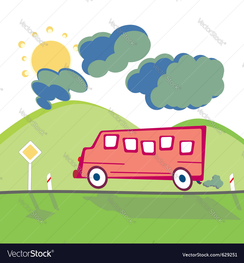 Bus on the mountain road vector | Price: 1 Credit (USD $1)