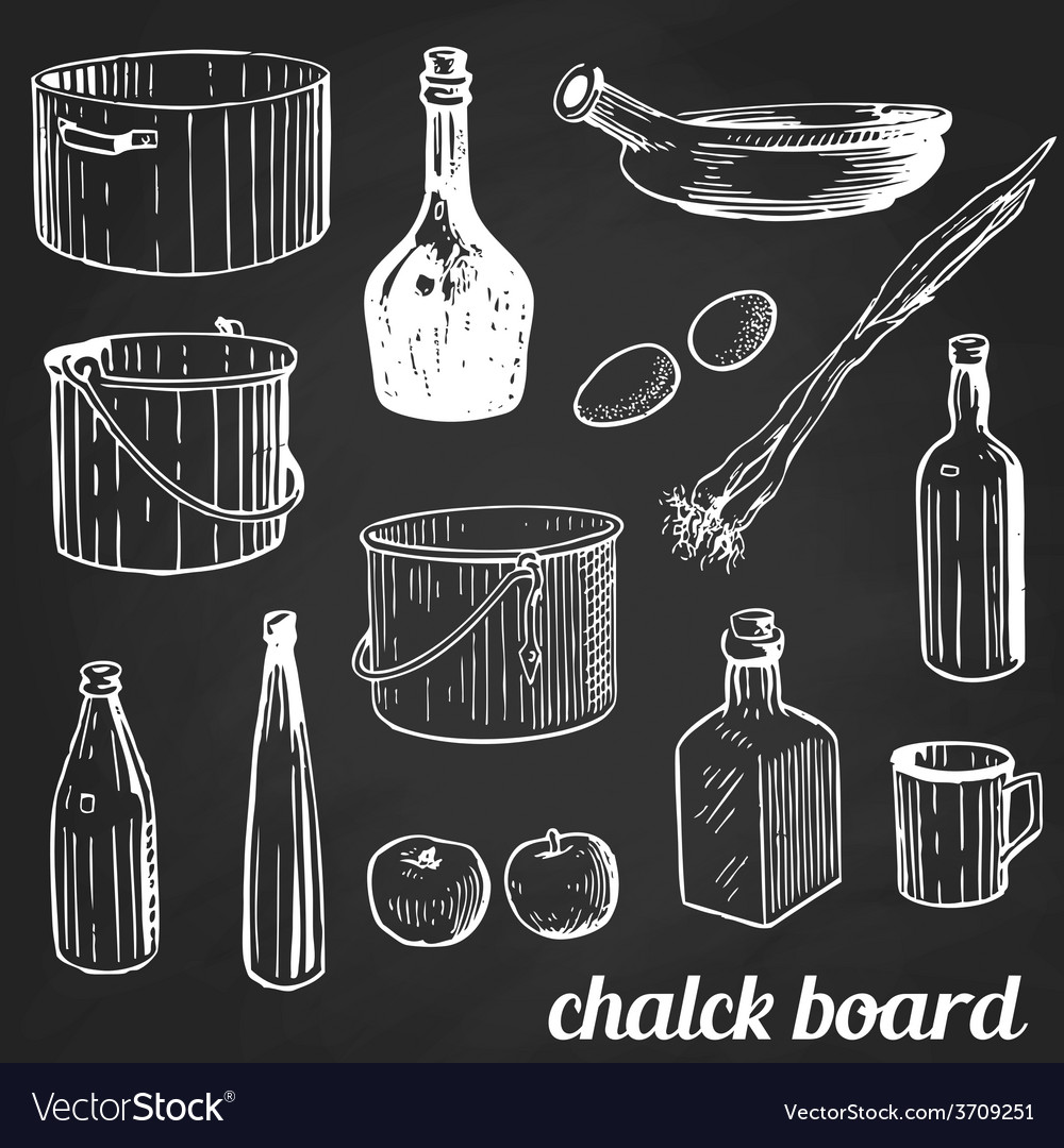 Chalk restaurant and kitchen related symbols vector | Price: 1 Credit (USD $1)