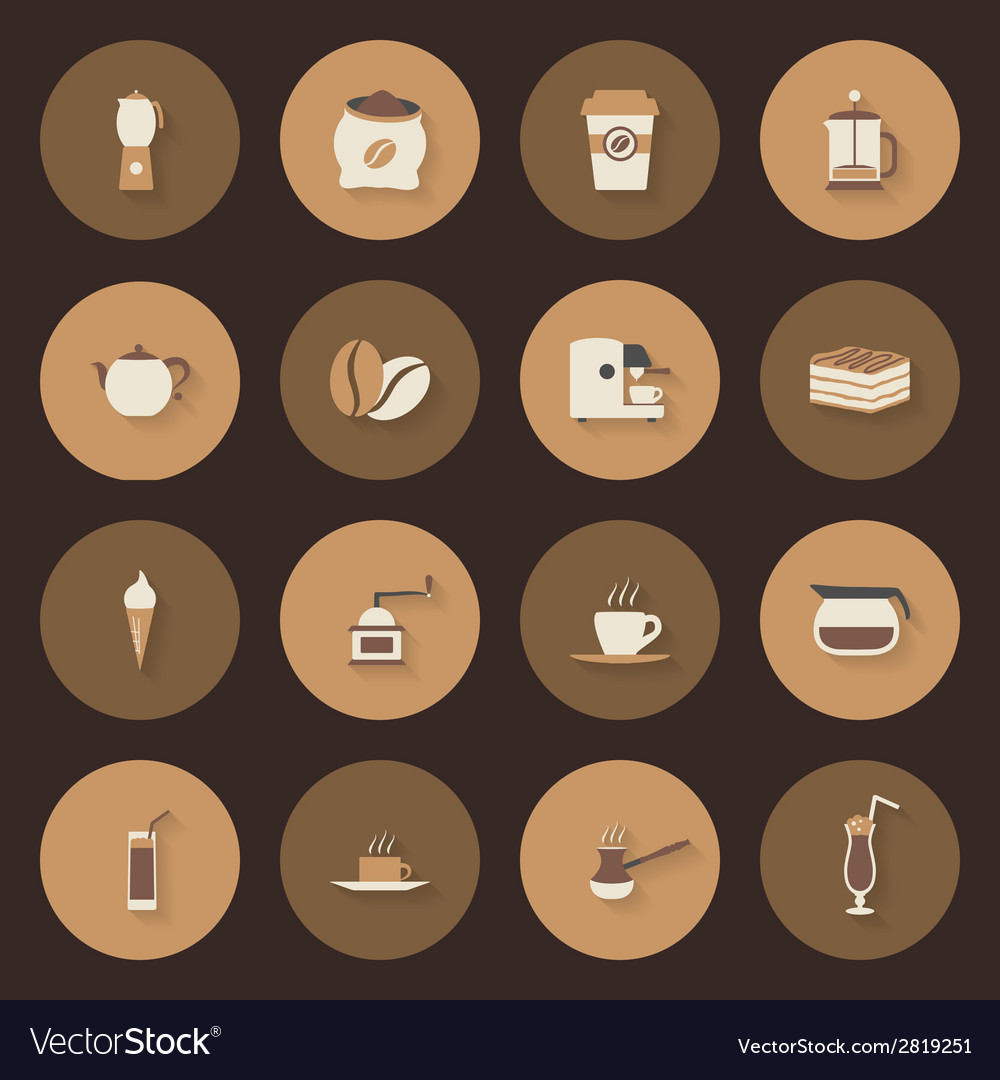 Coffe flat icons set vector | Price: 1 Credit (USD $1)