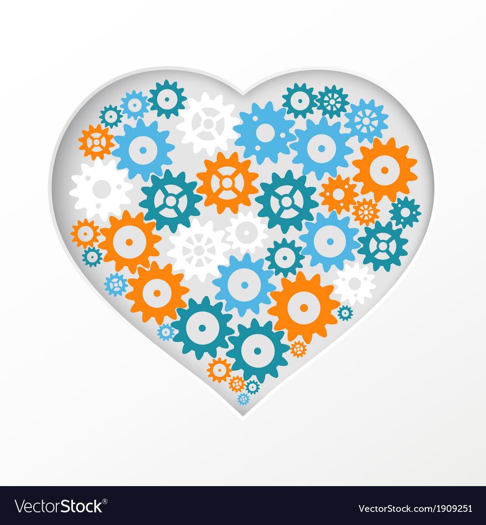 Gear heart vector   Price: 1 Credit (USD $1)