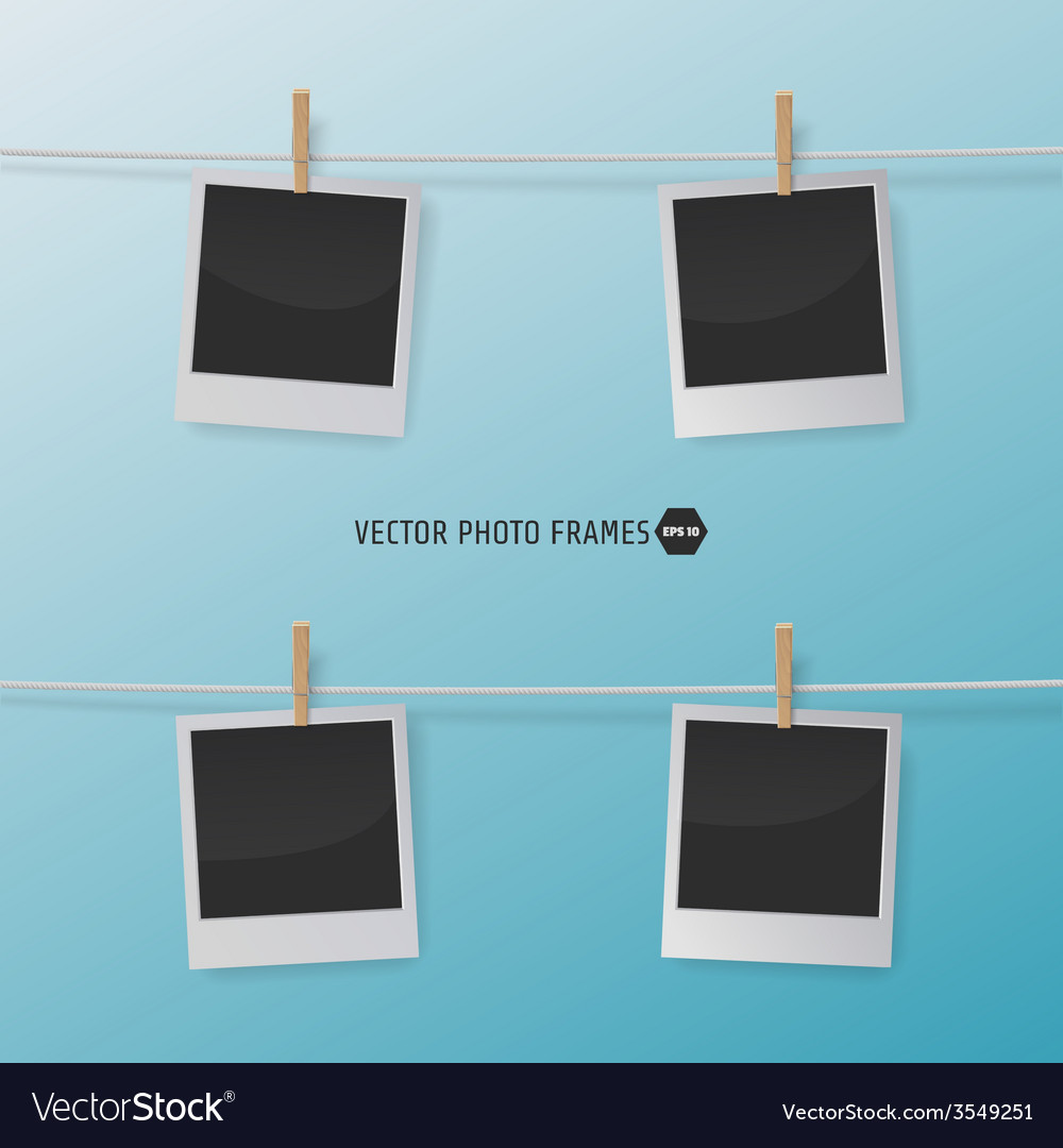 Retro photo frames on a rope with clothespins for vector | Price: 1 Credit (USD $1)