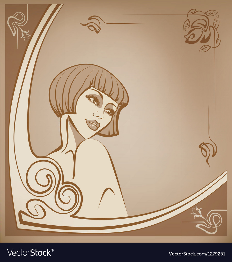 Tender sepia roaring 20-s girl background vector | Price: 1 Credit (USD $1)
