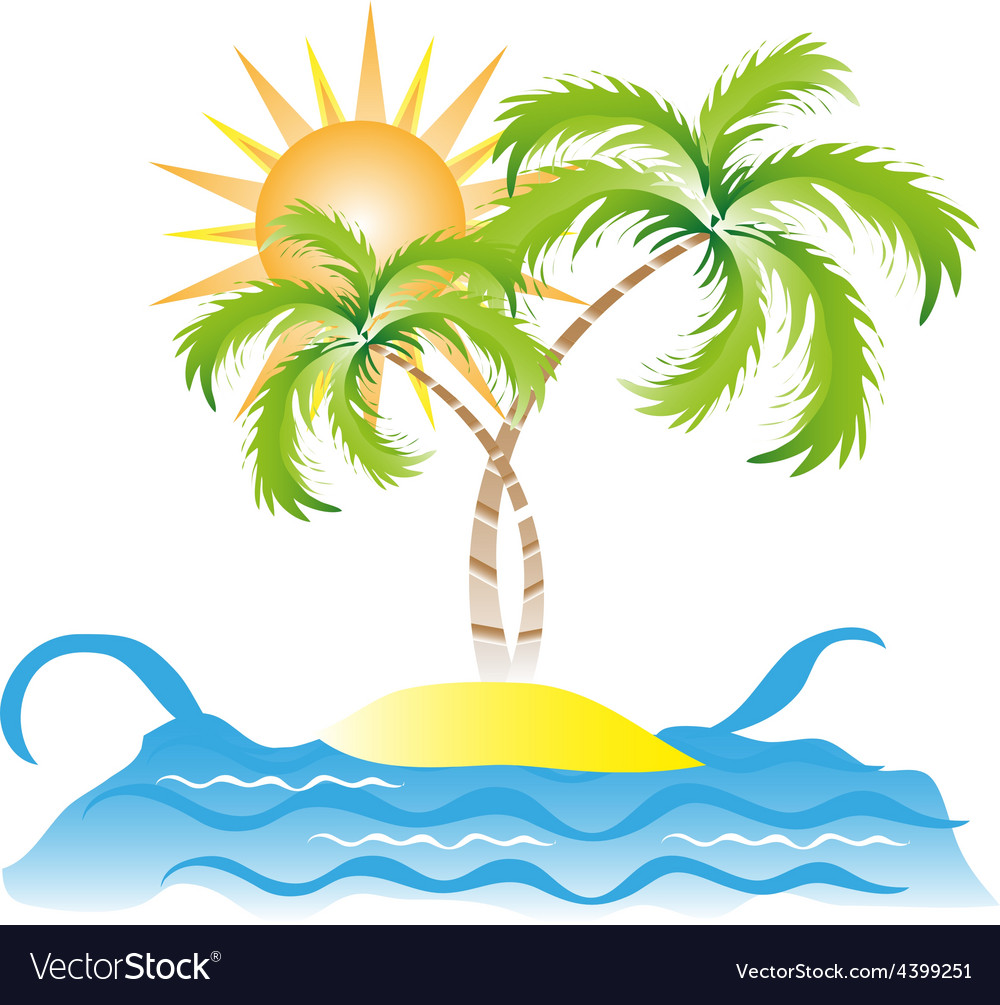 Tropical island vector | Price: 3 Credit (USD $3)