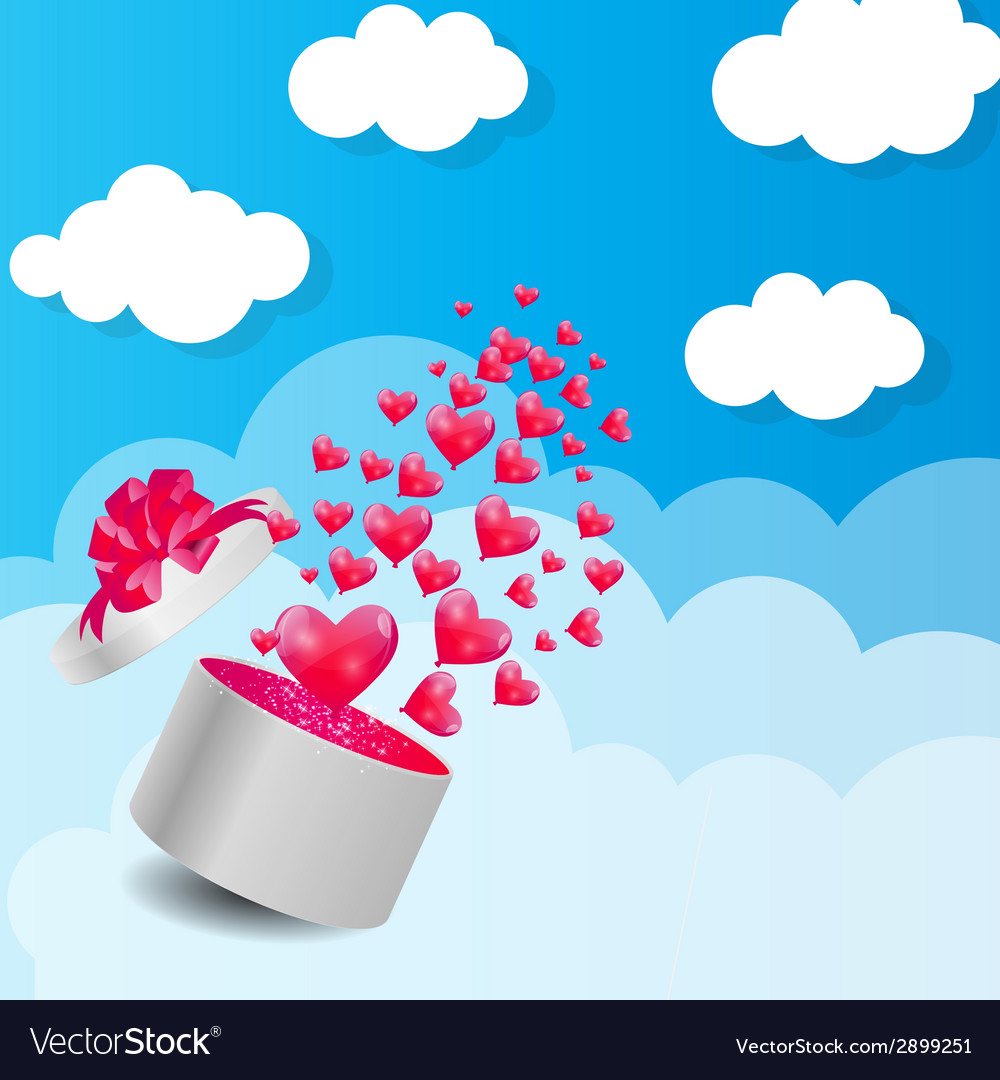Valentines day card with gift box and heart shaped vector | Price: 1 Credit (USD $1)