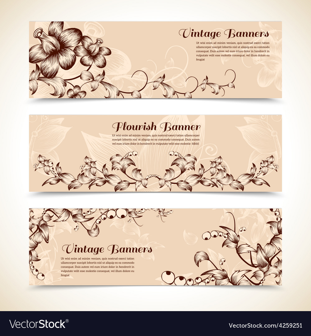 Vintage ornate flourish horizontal banner vector | Price: 1 Credit (USD $1)