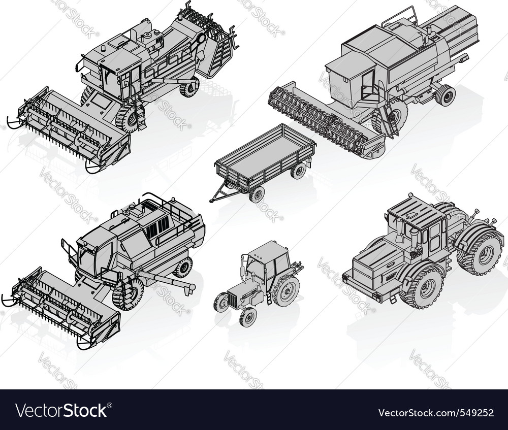 Agricultural vehicles set vector | Price: 1 Credit (USD $1)