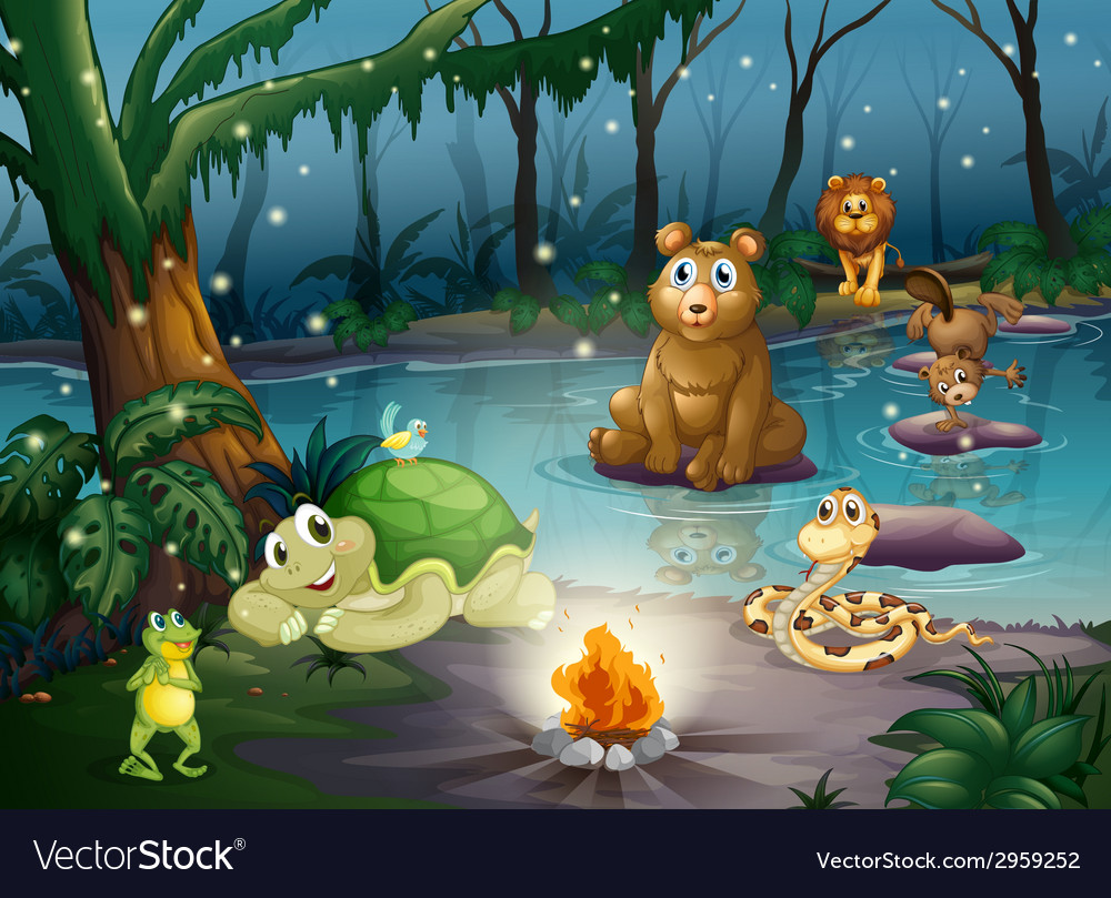 Animal and campfire vector