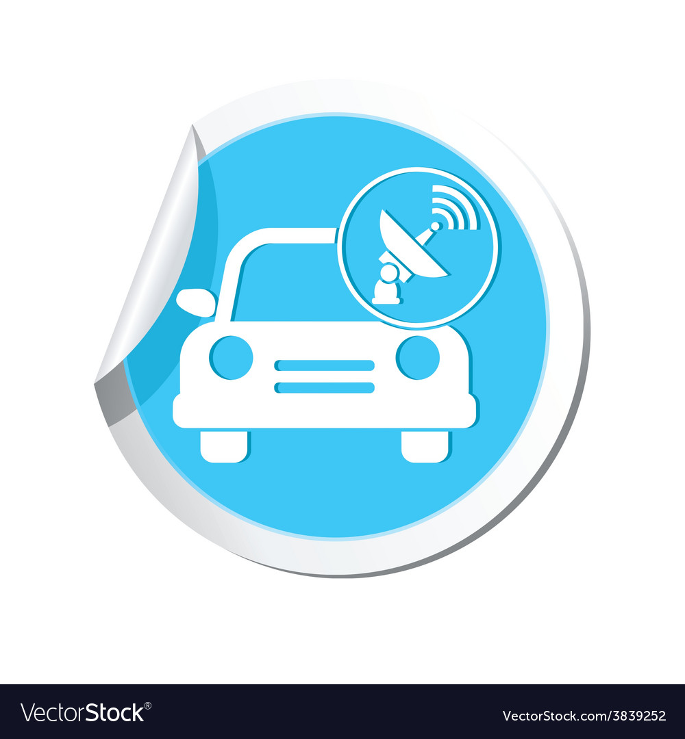 Cars satelite blue label vector | Price: 1 Credit (USD $1)