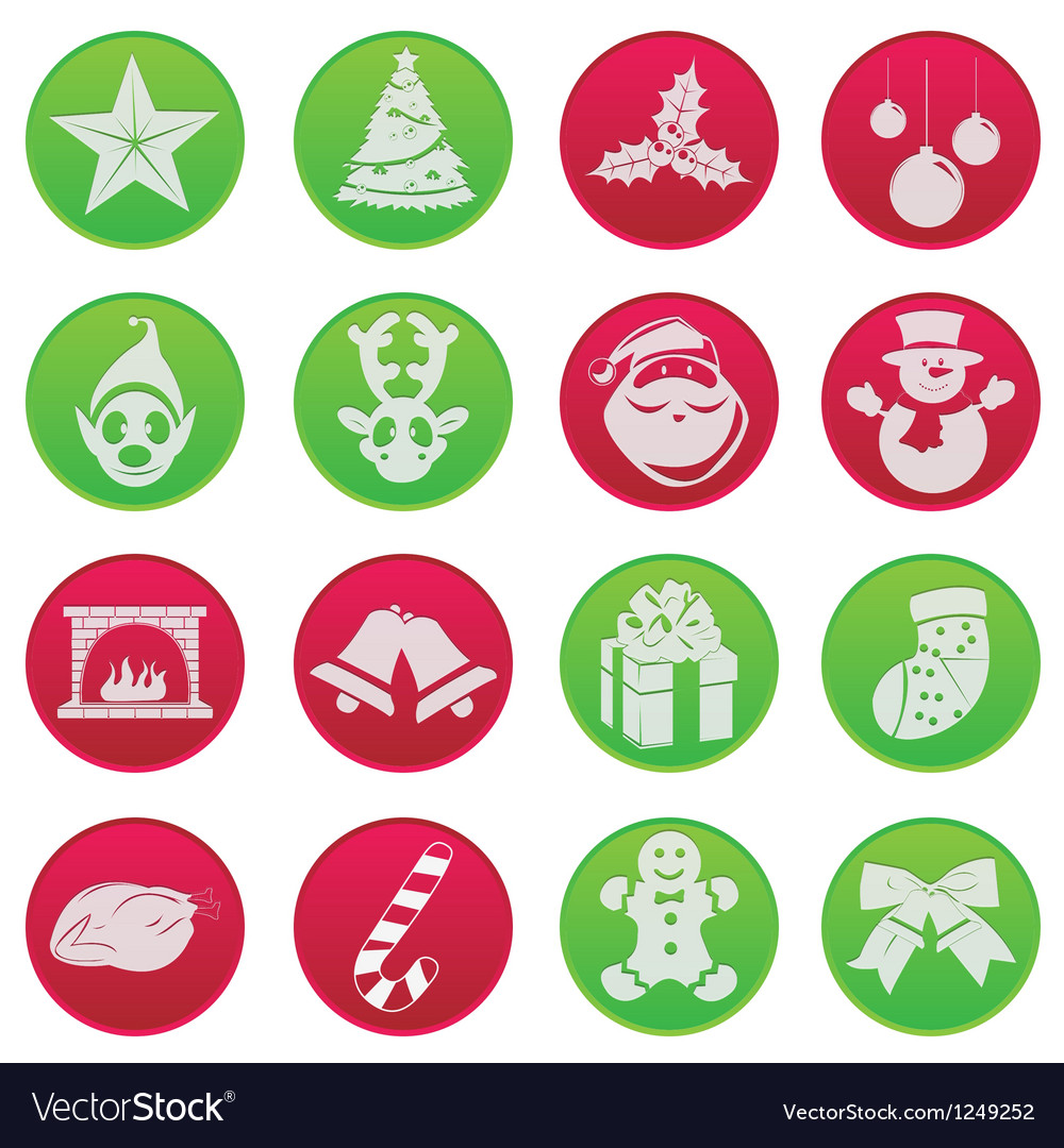 Christmass icon set vector | Price: 1 Credit (USD $1)