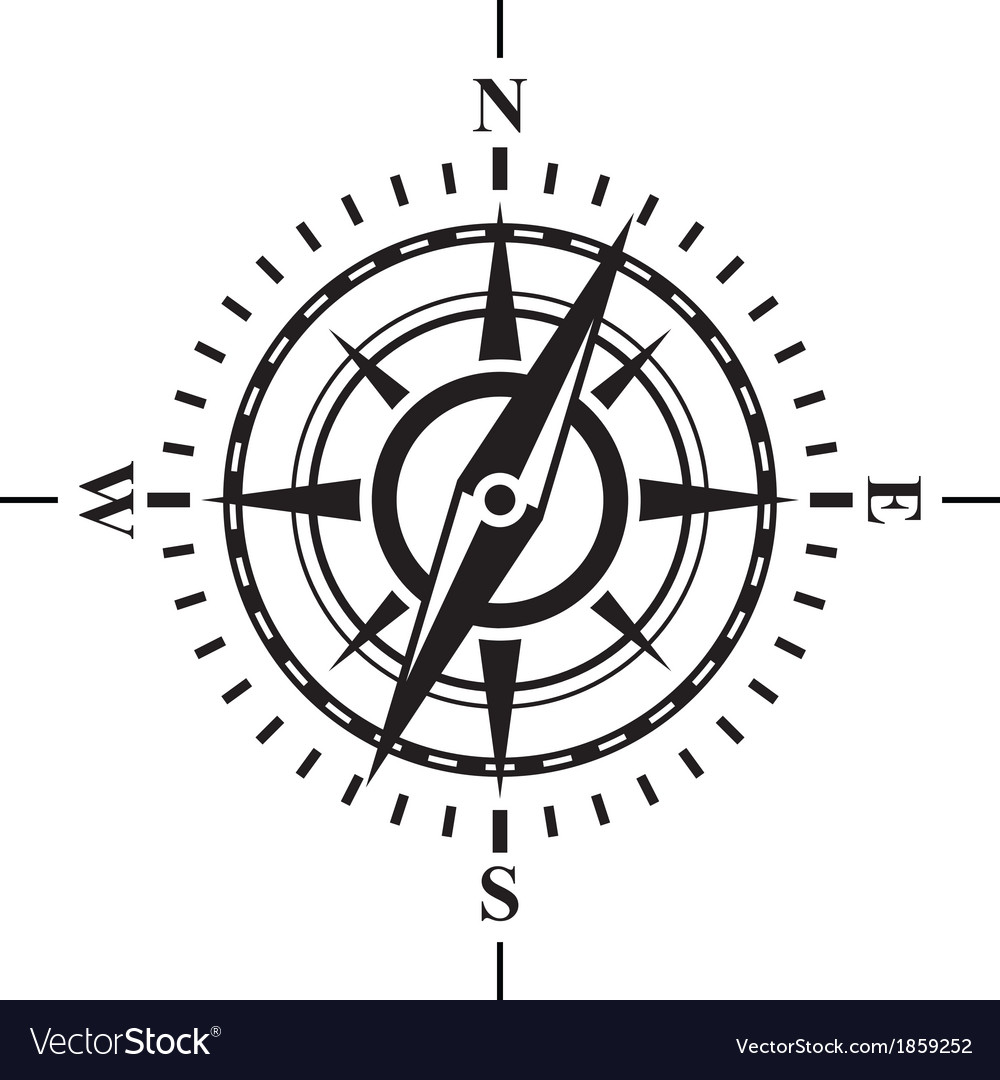 Compass with wind rose vector | Price: 1 Credit (USD $1)