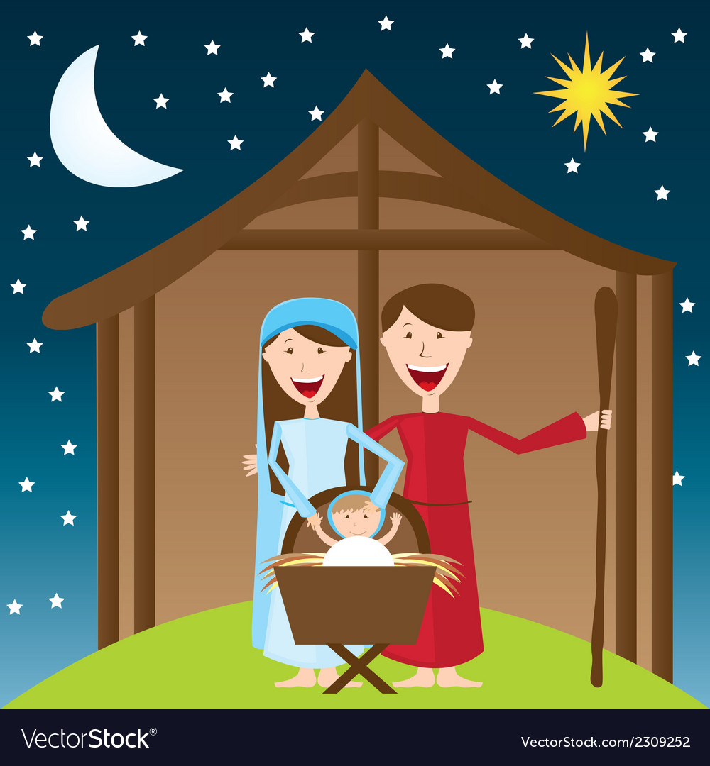 Cute manger over night landscape with moon and sta vector | Price: 1 Credit (USD $1)