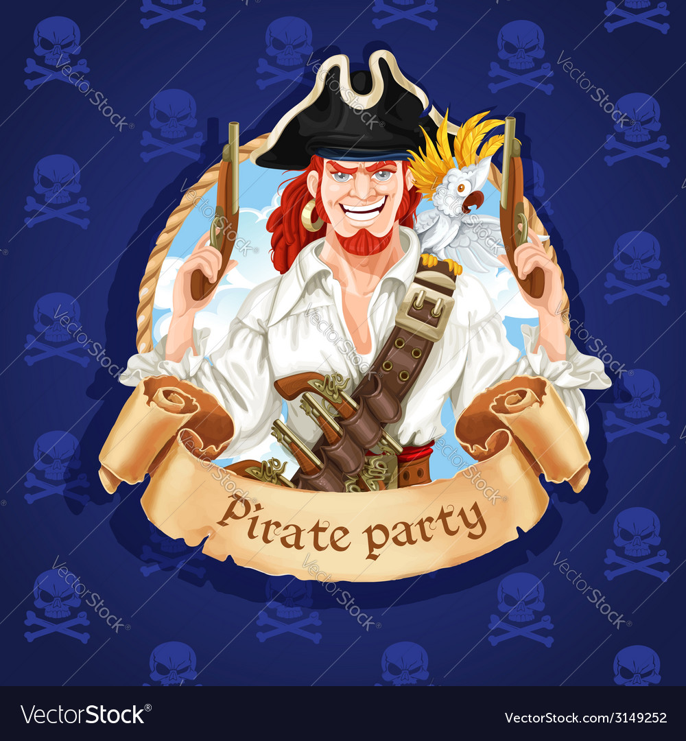 Cute pirate with parrot banner for pirate party vector | Price: 3 Credit (USD $3)