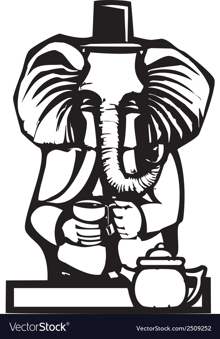 Elephant tea party vector | Price: 1 Credit (USD $1)