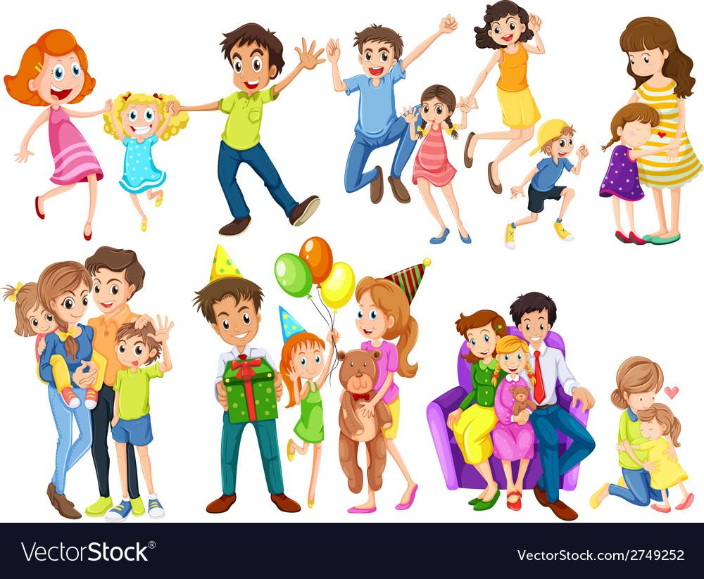 Happy families vector | Price: 1 Credit (USD $1)
