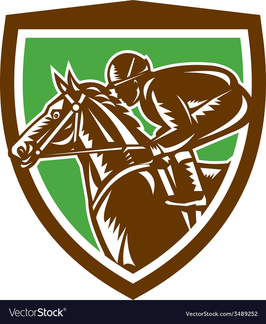 Jockey horse racing side shield retro vector | Price: 3 Credit (USD $3)