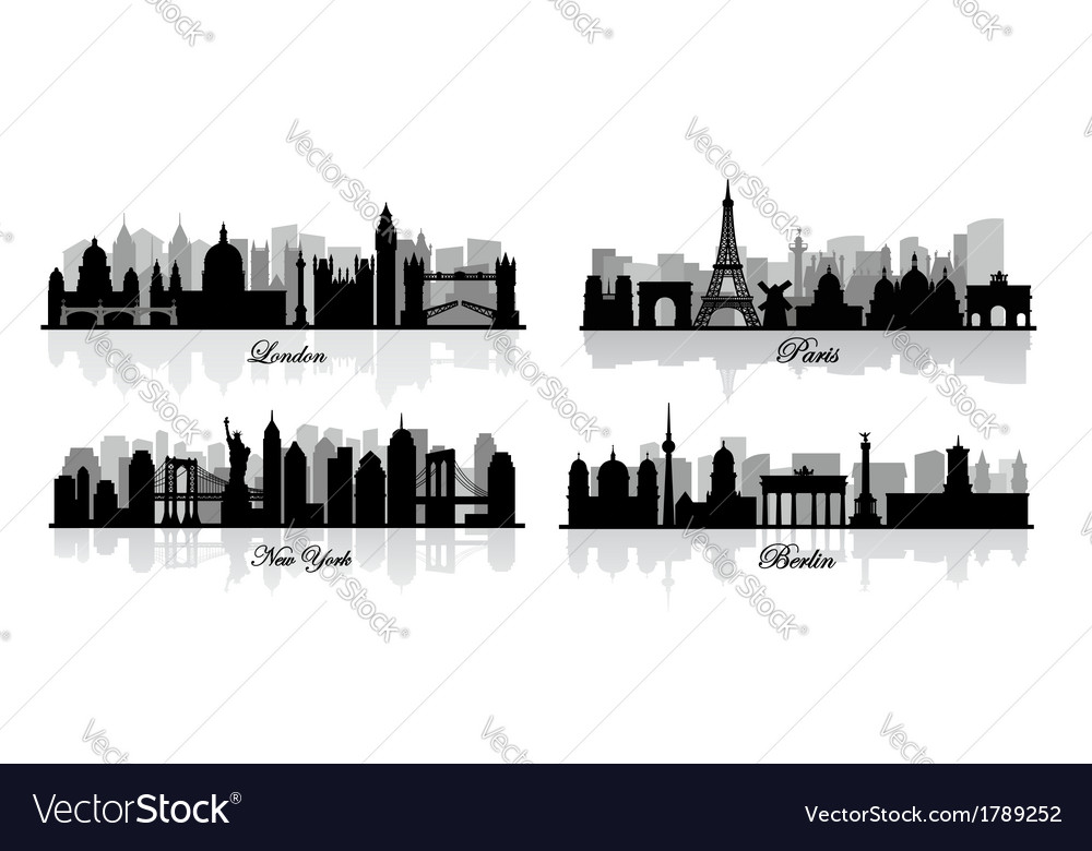 London new york berlin and paris vector | Price: 1 Credit (USD $1)