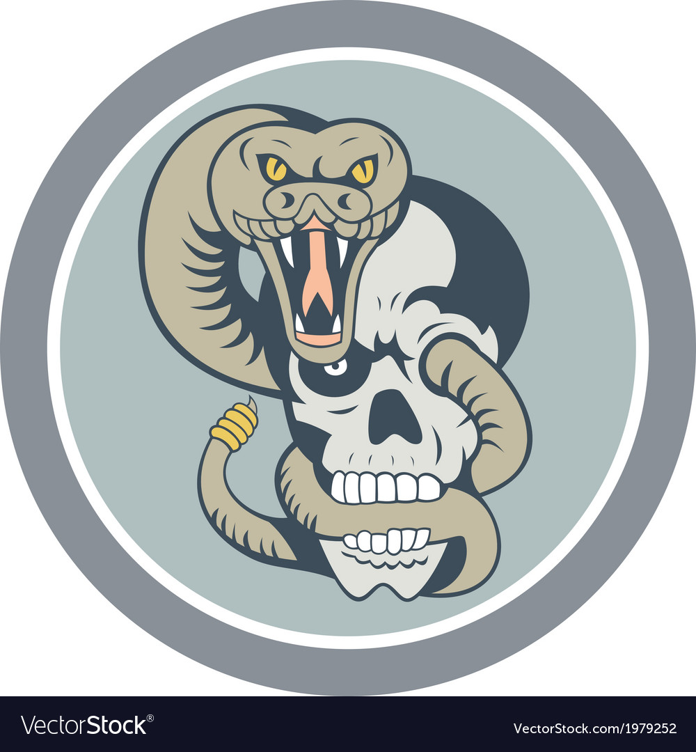Rattle snake curling around skull cartoon vector | Price: 1 Credit (USD $1)