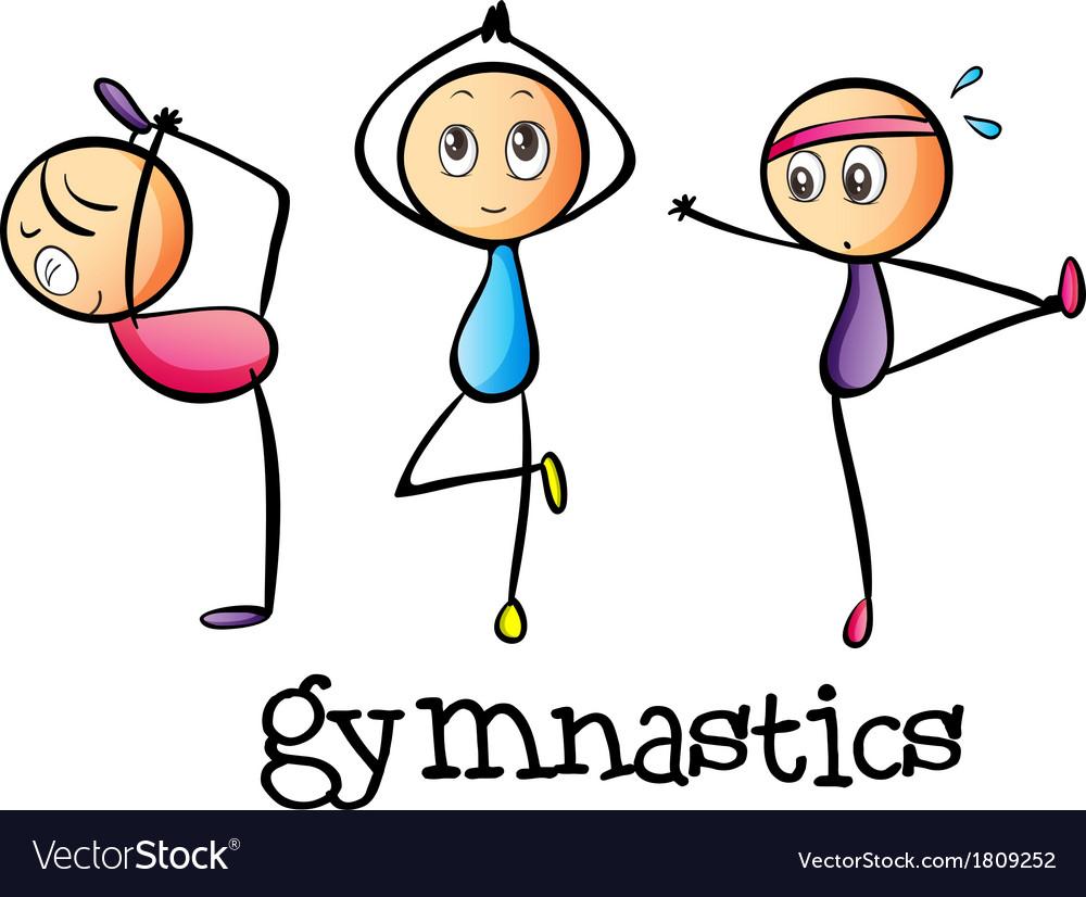 Stickmen doing gymnastics vector | Price: 1 Credit (USD $1)