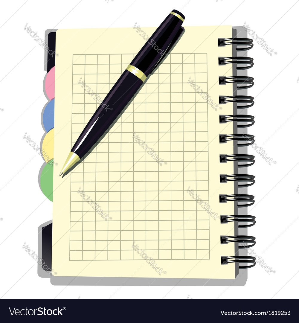 Appointment book with pen vector | Price: 1 Credit (USD $1)