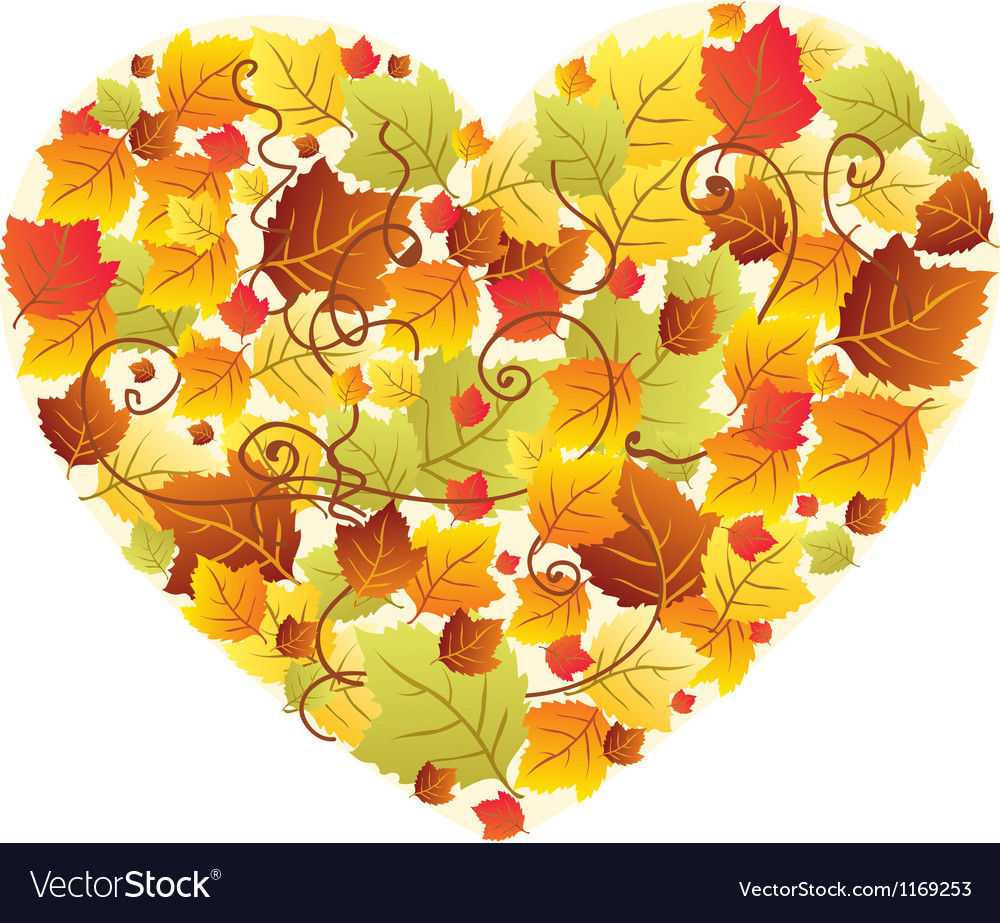 Autumn leaves heart vector | Price: 1 Credit (USD $1)