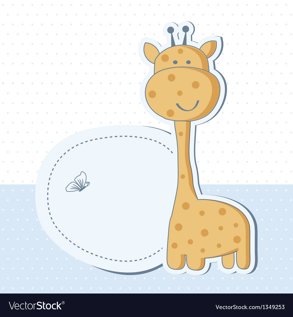 Baby boy shower card with cute giraffe vector | Price: 1 Credit (USD $1)