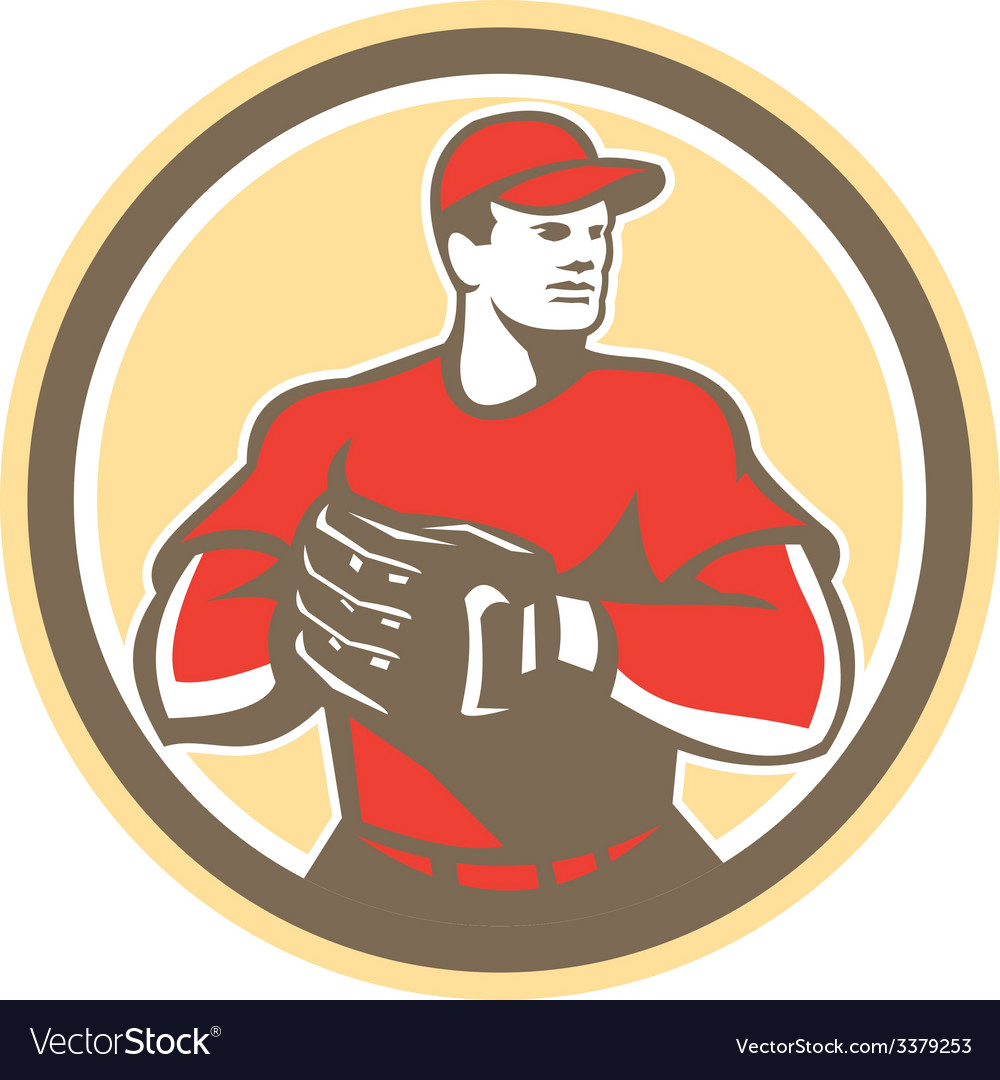 Baseball catcher gloves circle retro vector | Price: 1 Credit (USD $1)