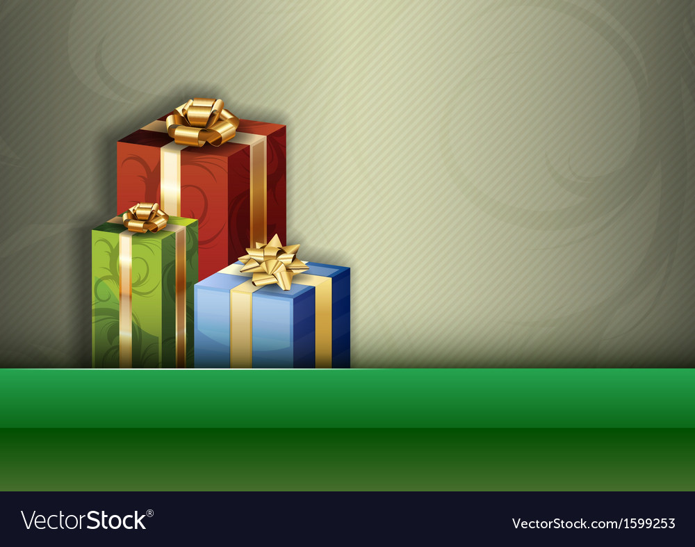 Christmas background green stripe gifts vector | Price: 1 Credit (USD $1)