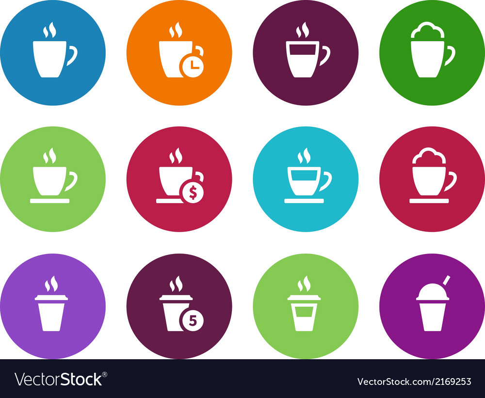 Coffee cup circle icons on white background vector | Price: 1 Credit (USD $1)