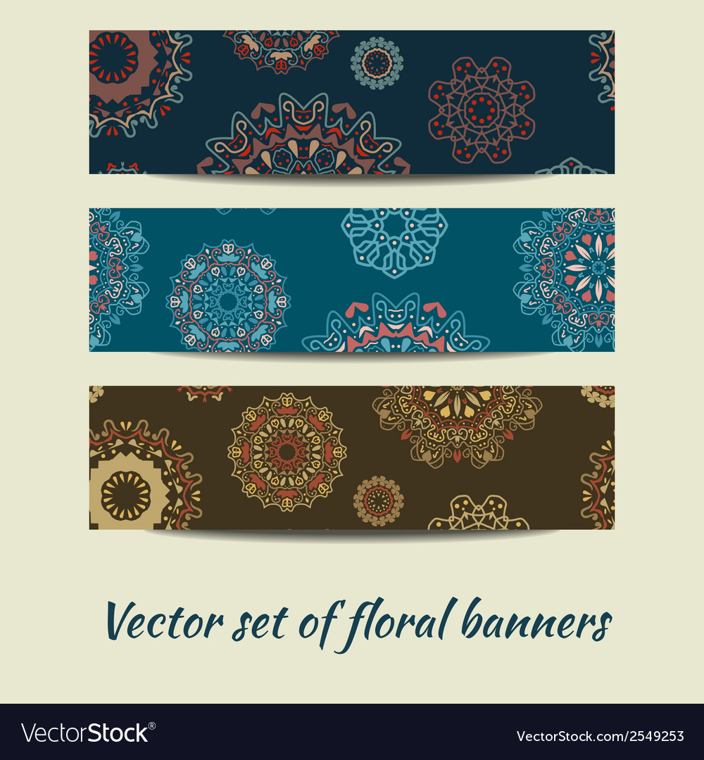 Colorful set of floral banners vector | Price: 1 Credit (USD $1)