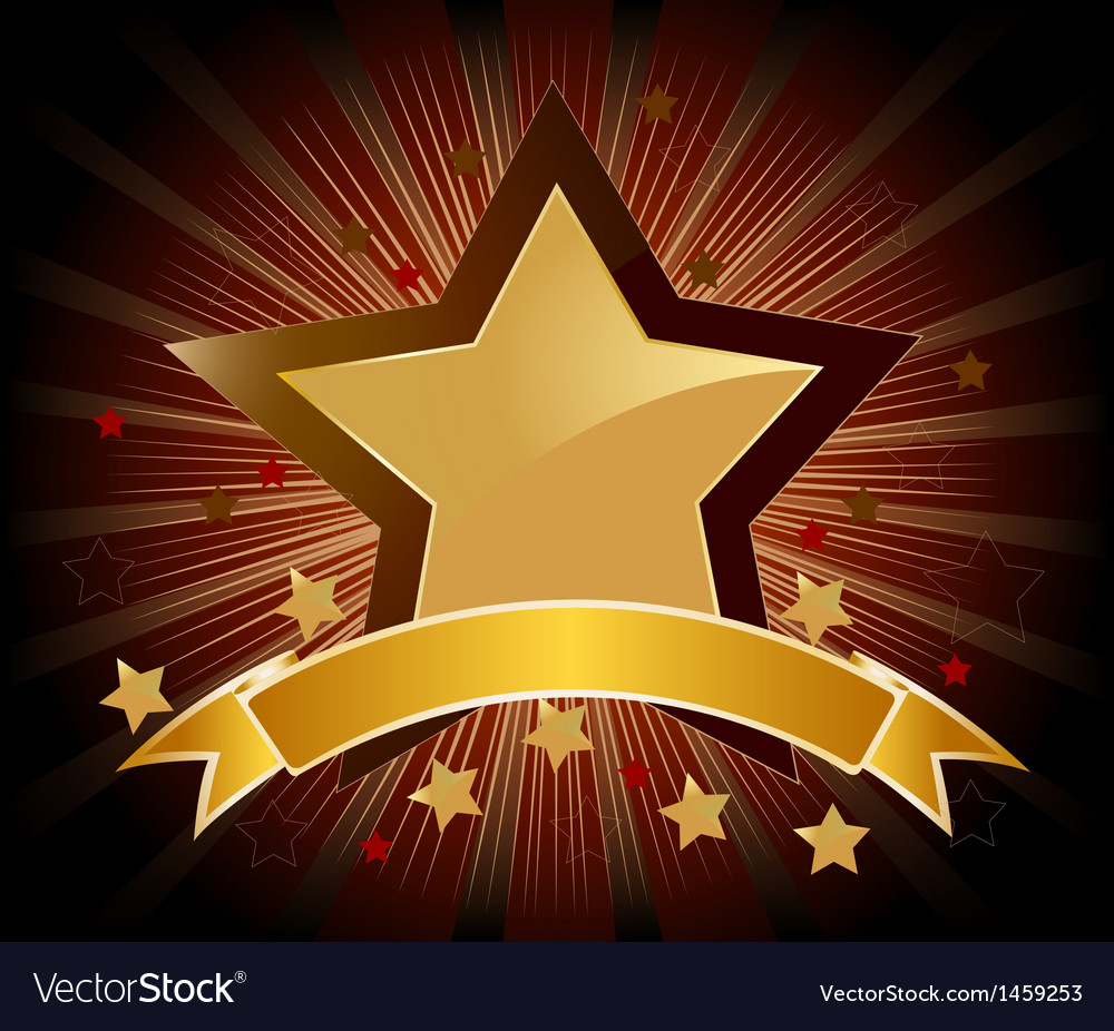 Golden stars shield with banner vector | Price: 1 Credit (USD $1)