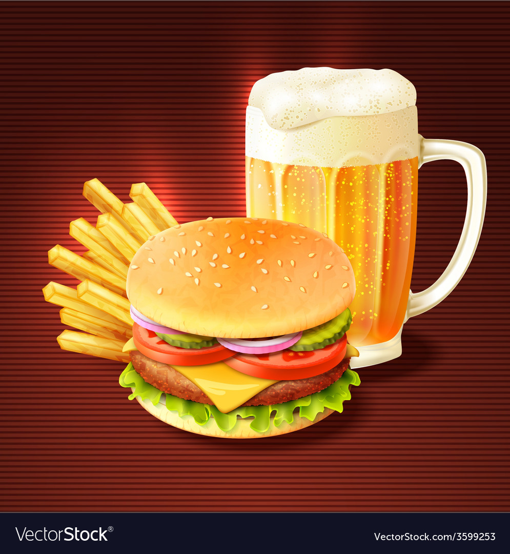 Hamburger and beer background vector   Price: 1 Credit (USD $1)