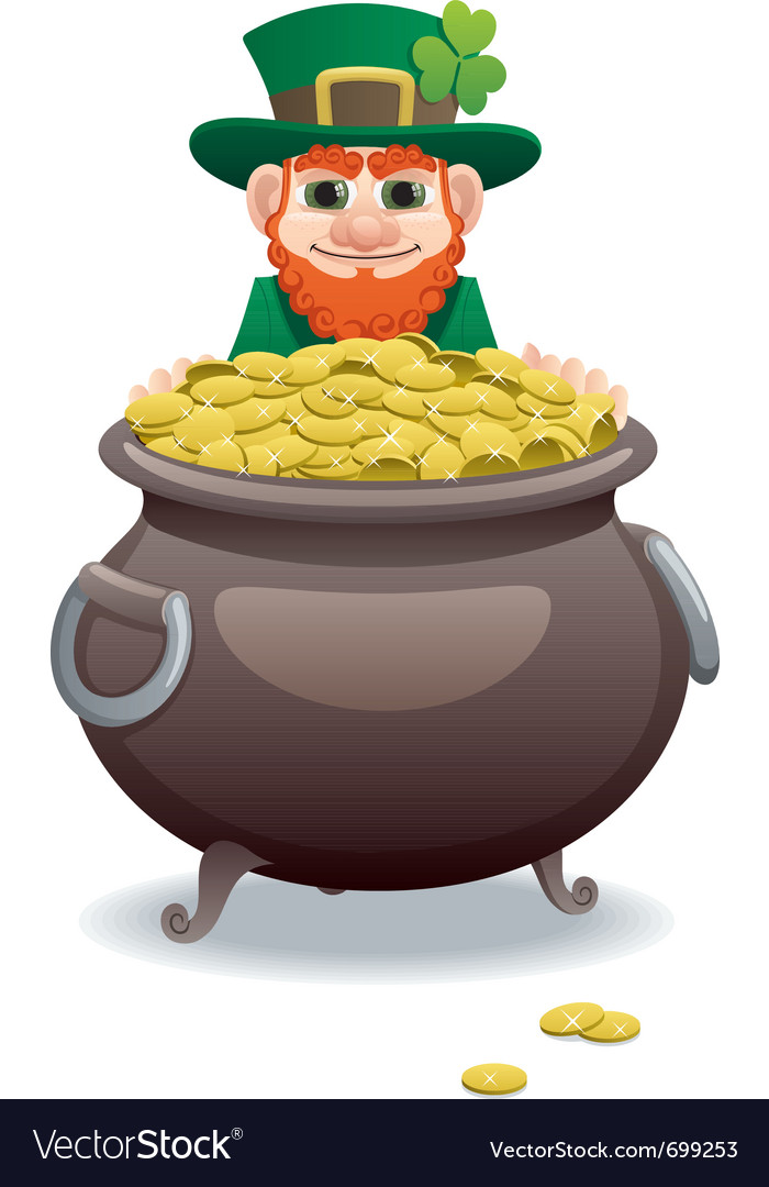 Leprechaun and pot of gold vector | Price: 3 Credit (USD $3)