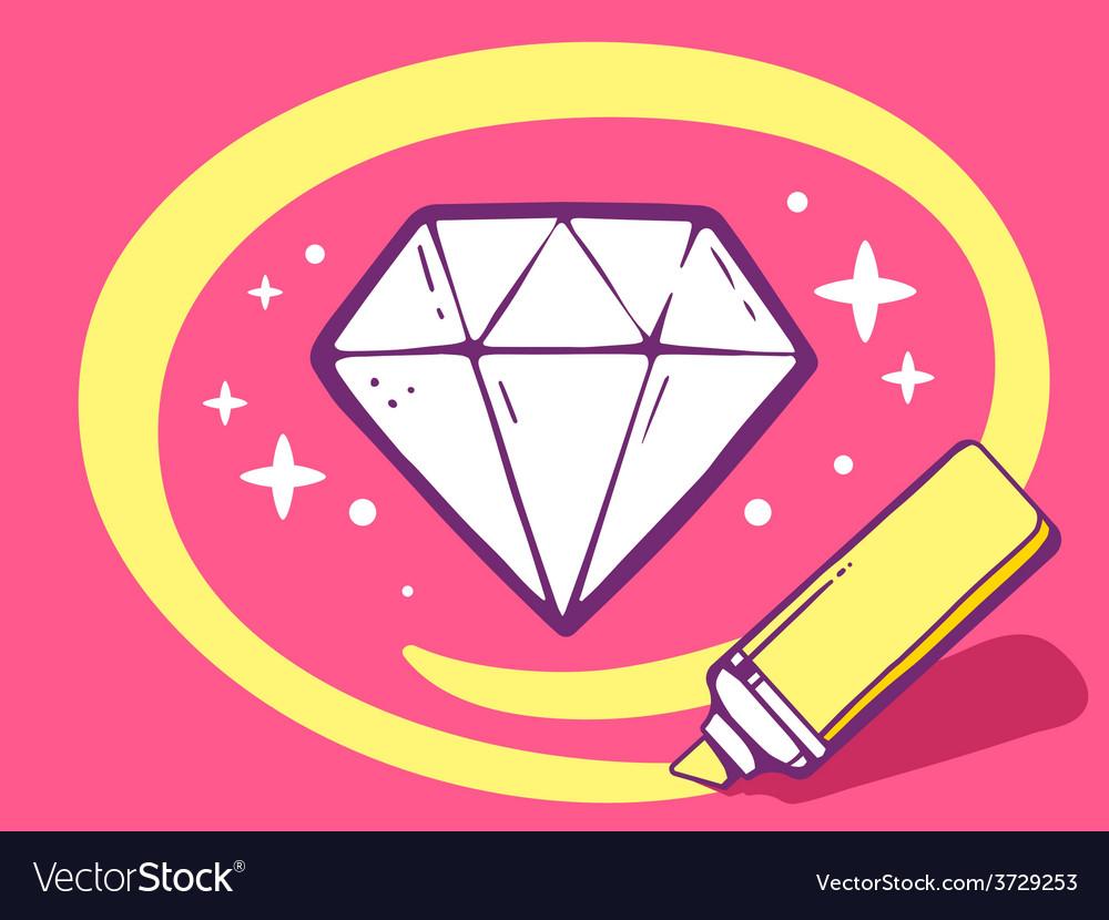Marker drawing circle around diamond on p vector | Price: 1 Credit (USD $1)