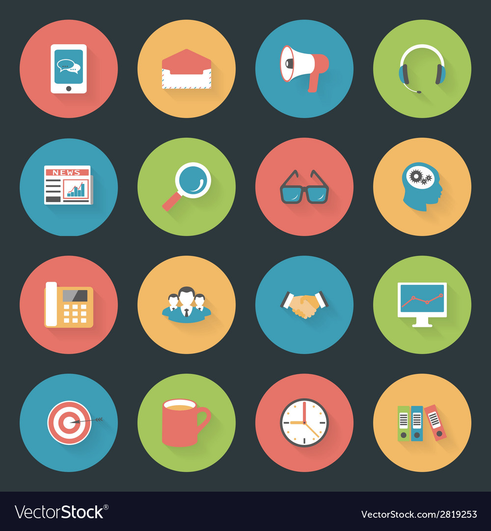 Marketing flat icons set vector | Price: 1 Credit (USD $1)