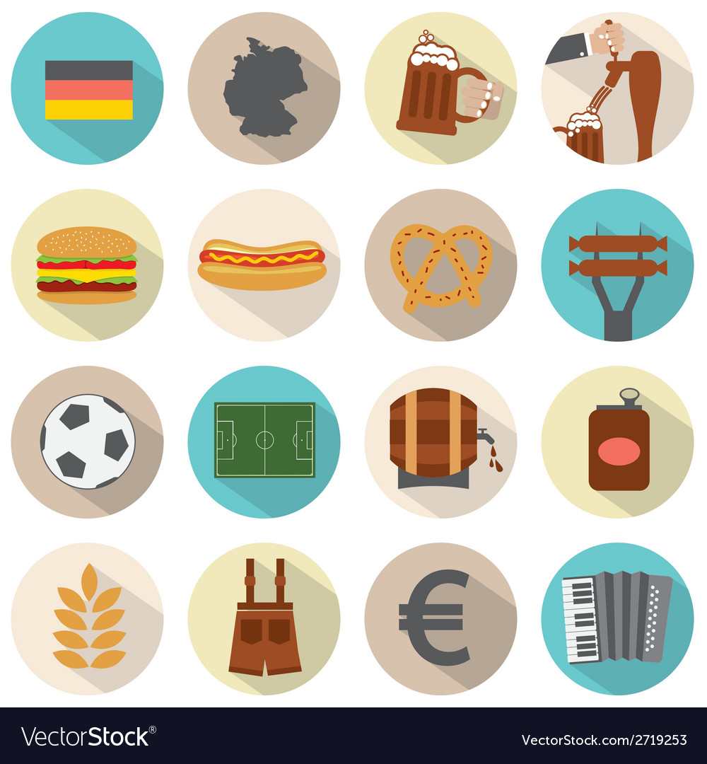 Modern flat design germany icons set vector | Price: 1 Credit (USD $1)