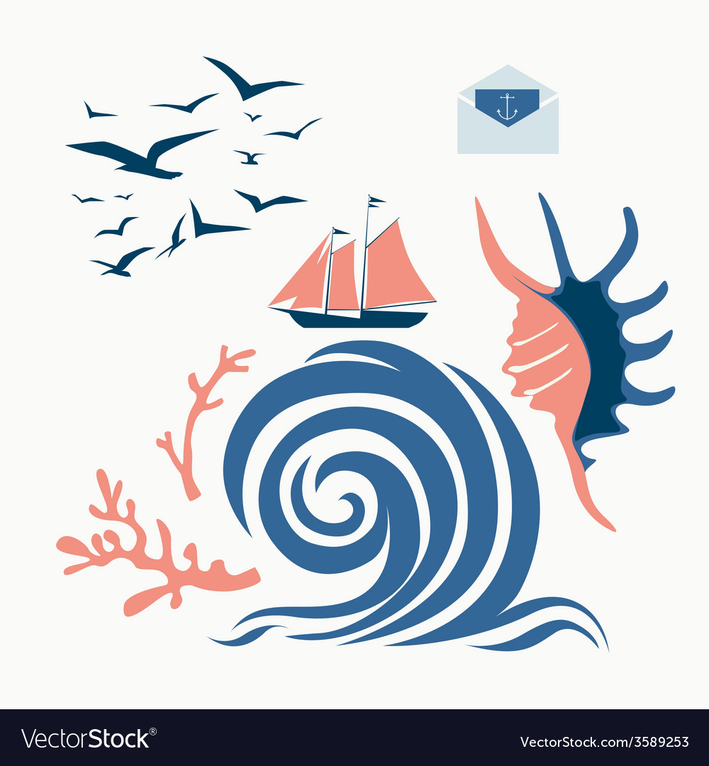 Nautical designs vector