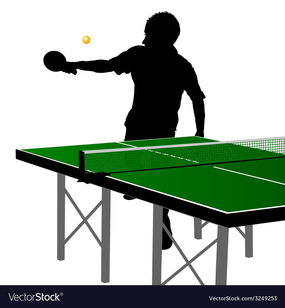 Ping pong player silhouette ten vector | Price: 1 Credit (USD $1)