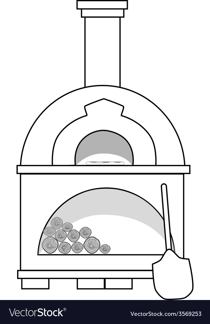 Pizza oven outline drawins vector | Price: 1 Credit (USD $1)