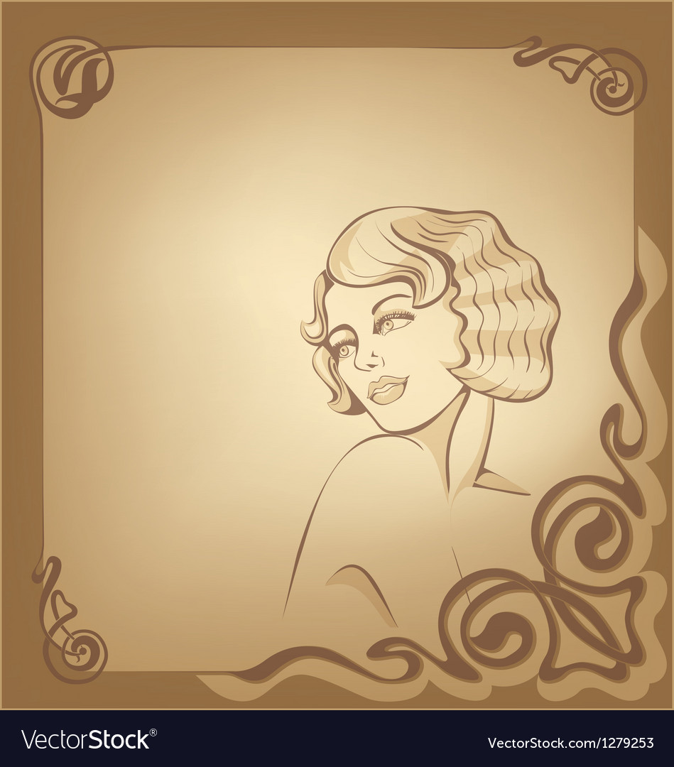 Roaring 20-s art nouveau beackground with blond vector | Price: 1 Credit (USD $1)