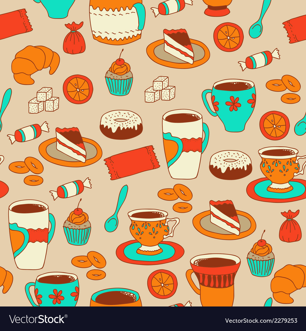 Seamless coffee and tea pattern with sweets vector | Price: 1 Credit (USD $1)