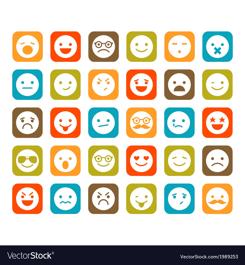 Set of smiley icons vector | Price: 1 Credit (USD $1)