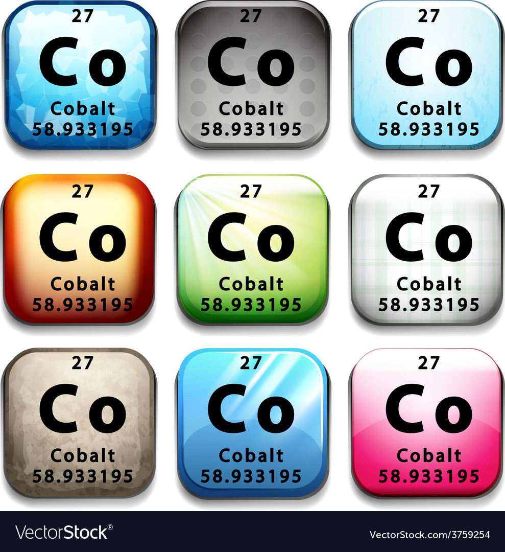 A button showing the chemical element cobalt vector | Price: 1 Credit (USD $1)