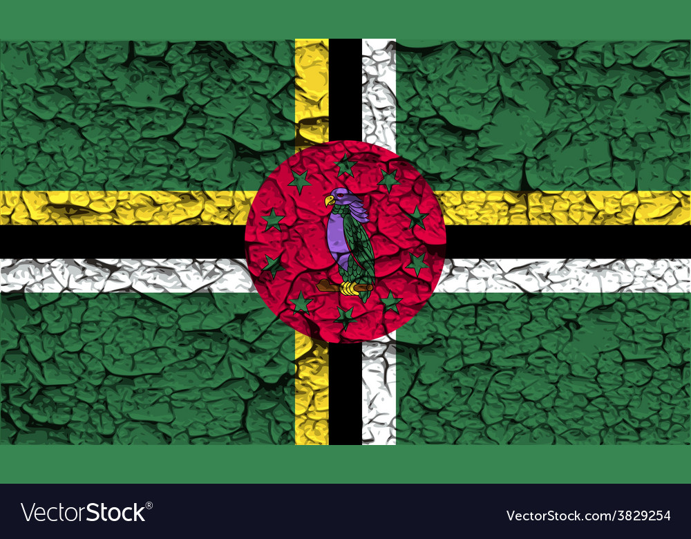 Flag of dominica with old texture vector | Price: 1 Credit (USD $1)