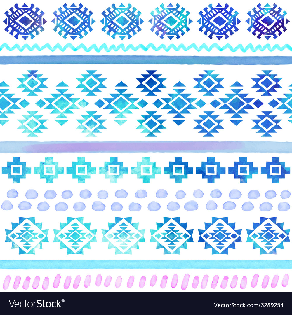 Hand drawn watercolor tribal seamless vector | Price: 1 Credit (USD $1)