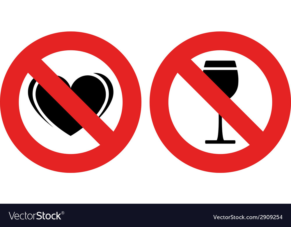 No allowed love and alcohol marks vector | Price: 1 Credit (USD $1)