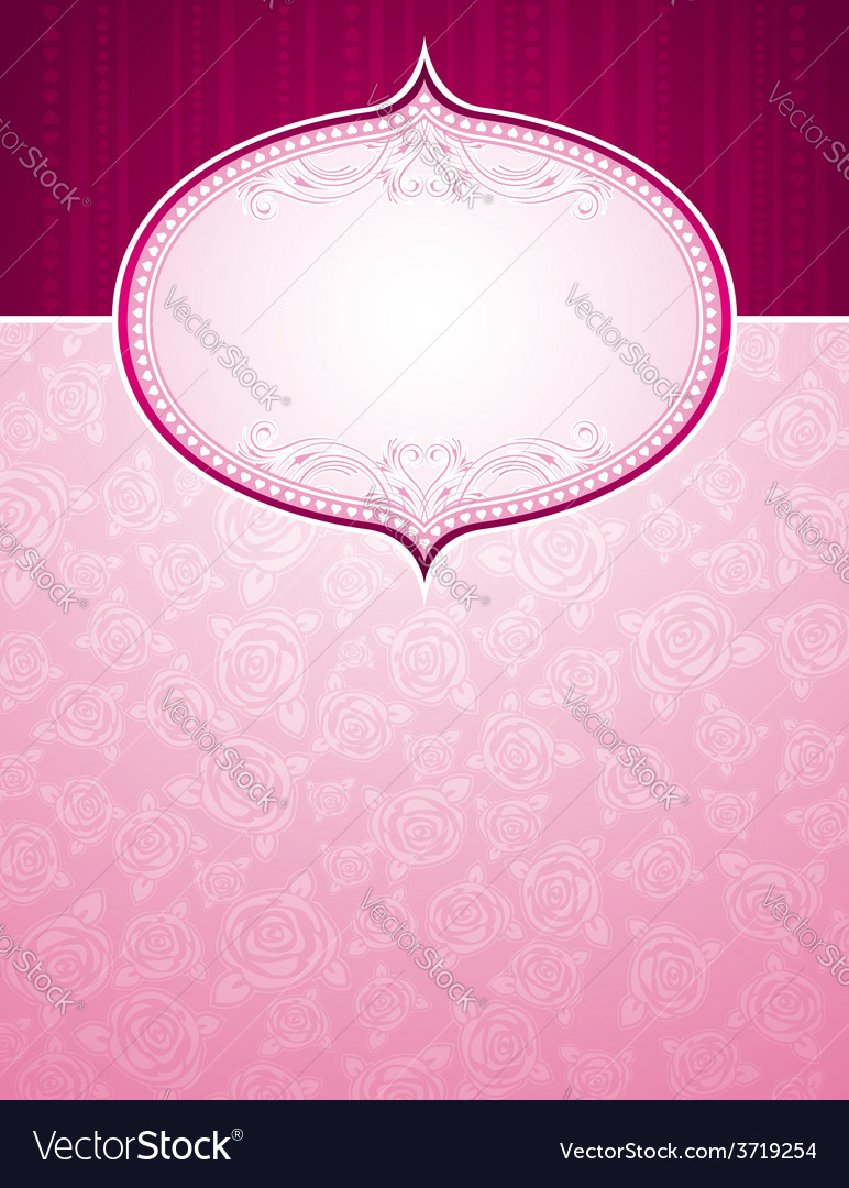 Pink background with big label and roses vector   Price: 1 Credit (USD $1)