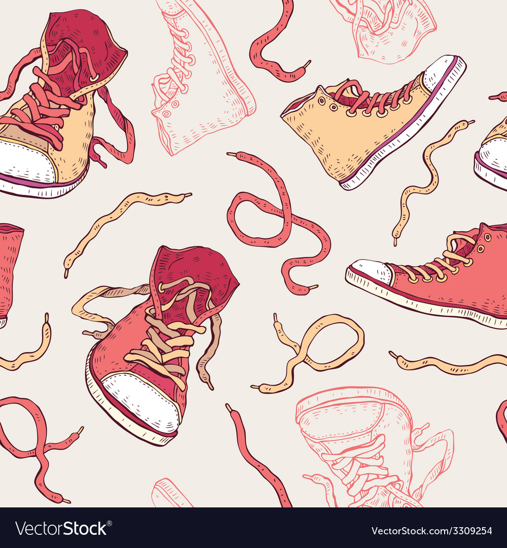 Sneakers shoes seamless pattern vector | Price: 1 Credit (USD $1)