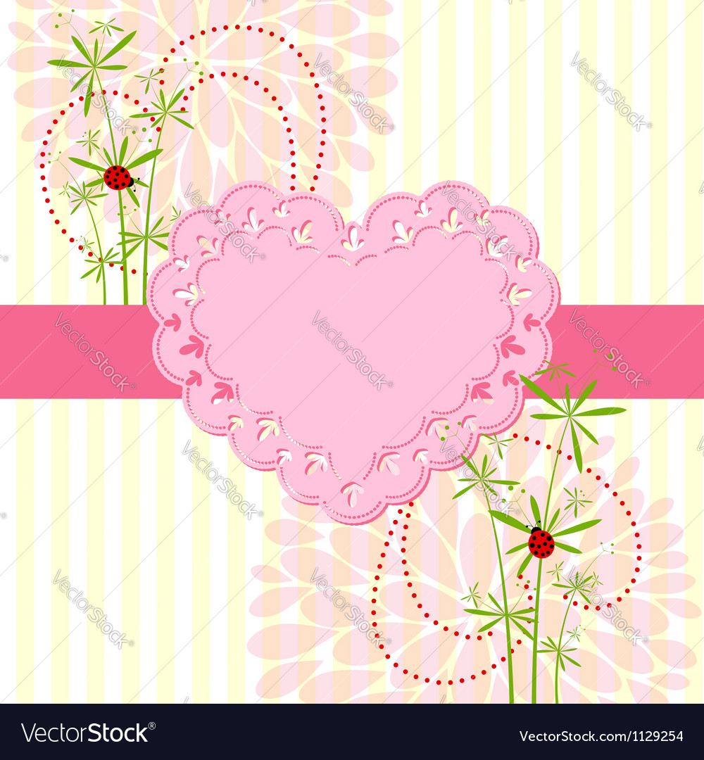 Springtime love card with flower vector | Price: 1 Credit (USD $1)